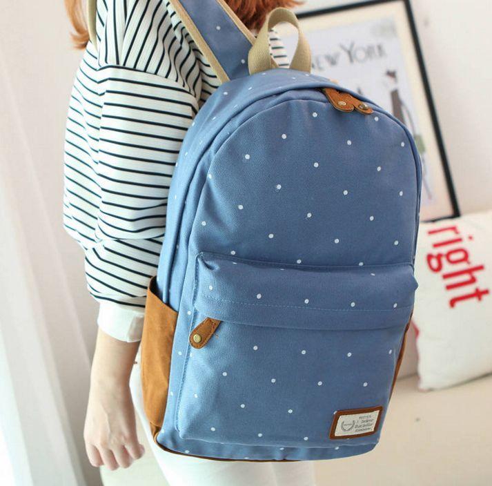 Рюкзак голубой в горошек кожаный дизайнерский рюкзак